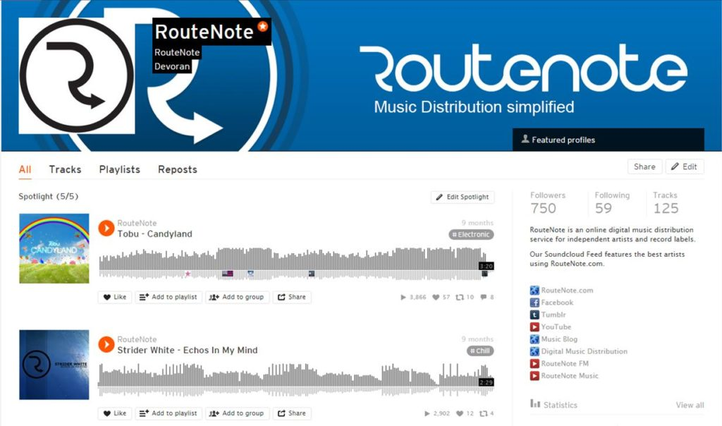 routenote soundcloud