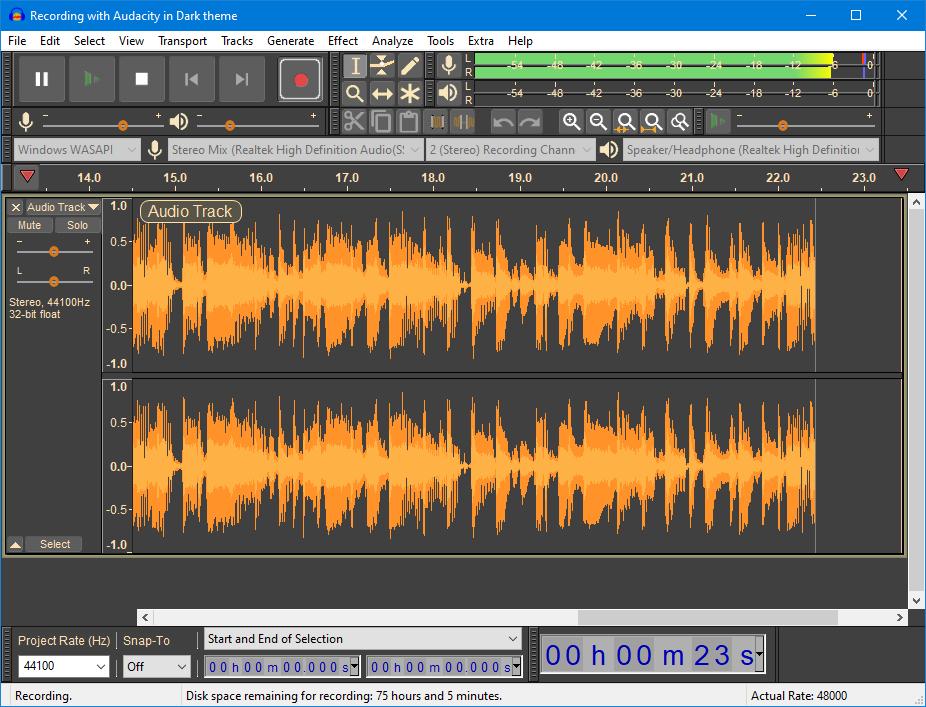 Recording-with-Audacity-in-Dark-theme